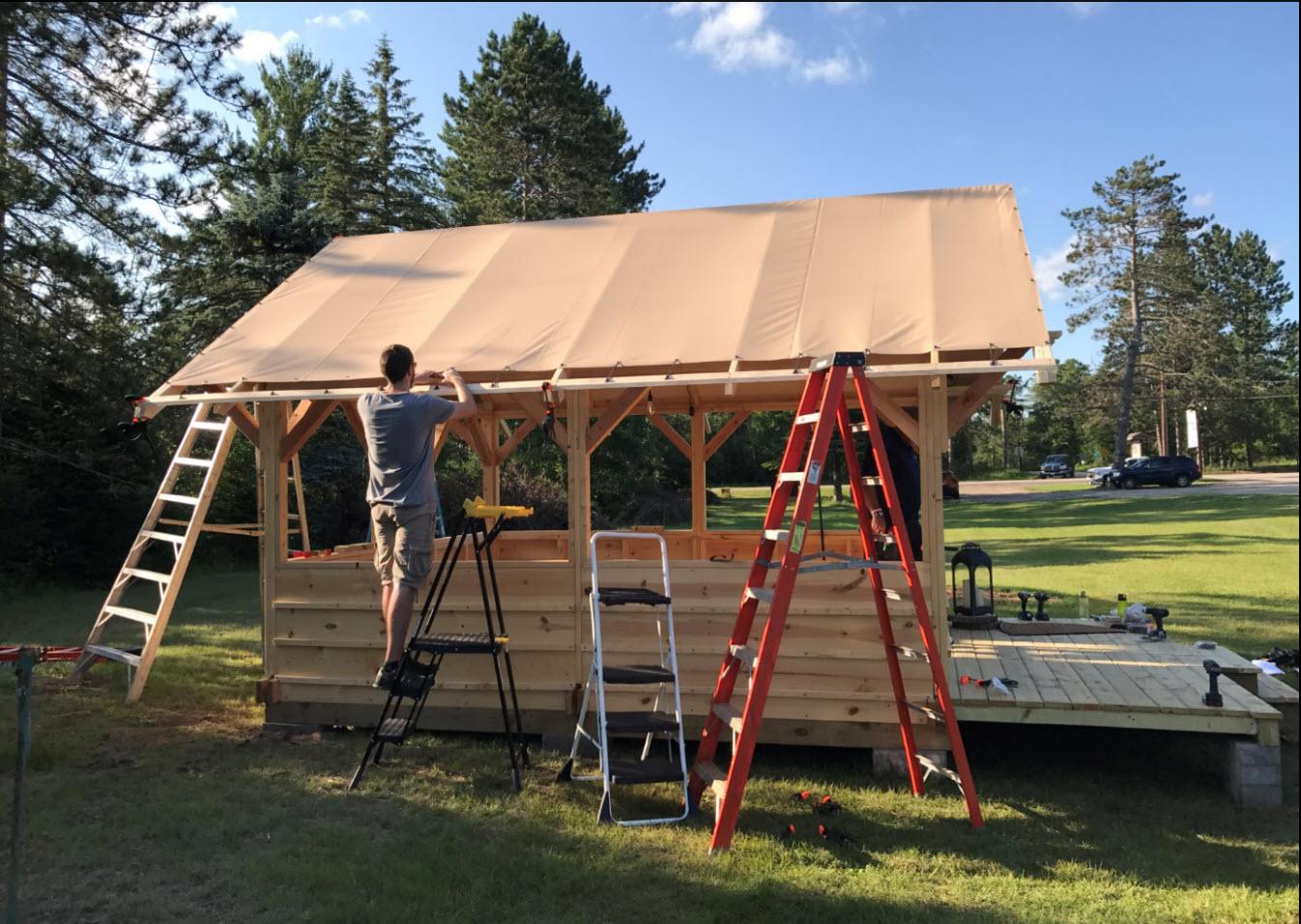 Hideout Tent Cabin Vinyl Rainfly Installation
