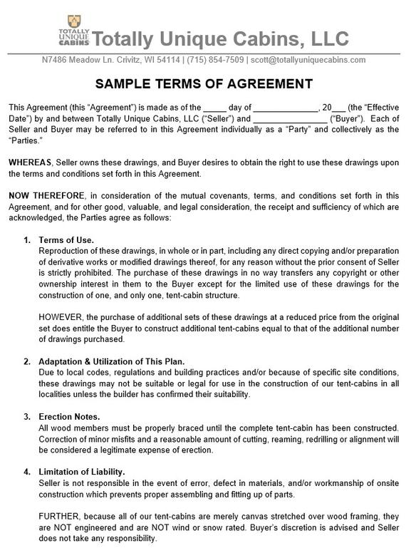 Sample Tent Cabin Plan User Agreement